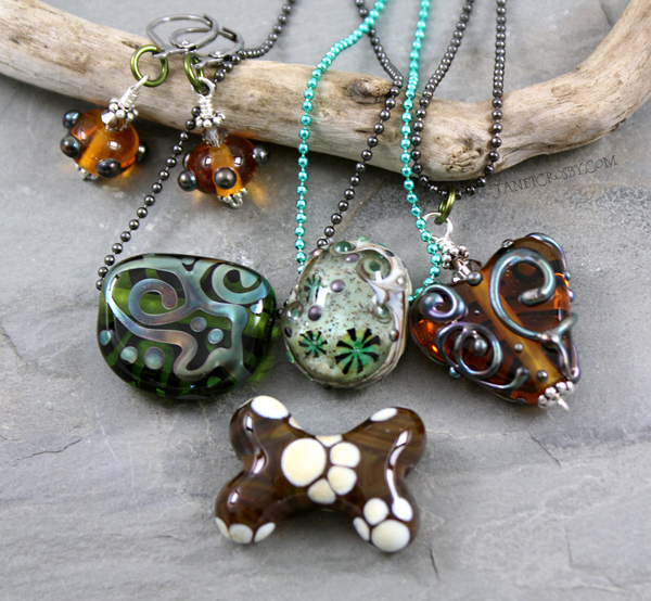 Lampwork bead necklaces and earrings by Janet Crosby