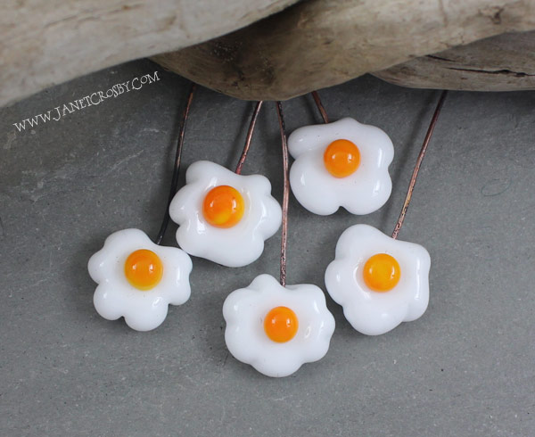 Glass Fried Egg Headpins