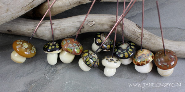 Glass Mushrooms Headpins