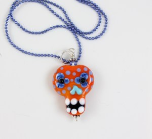 Sugar Skull Glass Pendant Necklace by Janet Crosby