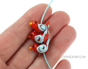 3 Orange Birds - Lampwork Glass Beads by Janet Crosby