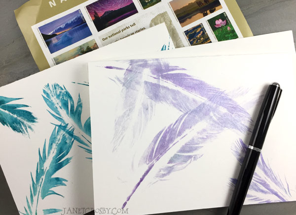 Hand-printed Feather Cards And Pen