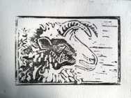 Jacob ewe linocut 1 print © Janet E Davis