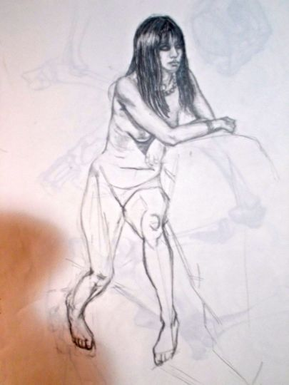 Life drawing, seated woman, pencil on paper.