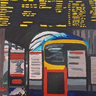 Janet E Davis, Railways - York Station 1 (unfinished) oils on canvas, 2008.