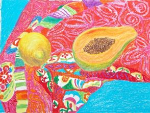 Janet E Davis, Lemon and half a papaya on a silk scarf, oil pastels on paper, 2014.
