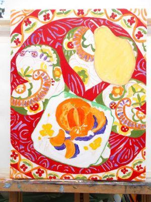Janet E Davis, Still life - pear, satsuma and scarf stage 4, acrylics on canvas, February 2014.
