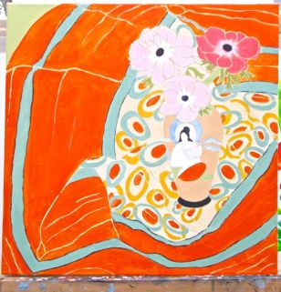 Janet E Davis, 3 pink anemones in an oriental vase - stage 6, acrylics on canvas, March 2014.