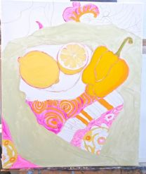 Janet E Davis, One and a half lemons and a pepper stage 3, tinted charcoal & acrylics on canvas, March 2014.