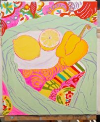 Janet E Davis, One and a half lemons and a pepper stage 9, acrylics on canvas, March 2014.
