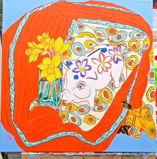 Janet E Davis, 5 daffodils and a piggy bank, acrylics on canvas, May 2014.