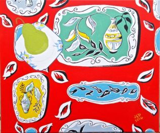 Janet E Davis, A pear on a plate on 1950s fabric stage 6 (final), acrylic on canvas, May 2014.