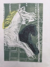 Carousel horse in green ink, chîne collé in yellow tissue and black tissue with holographic dots tissue paper.