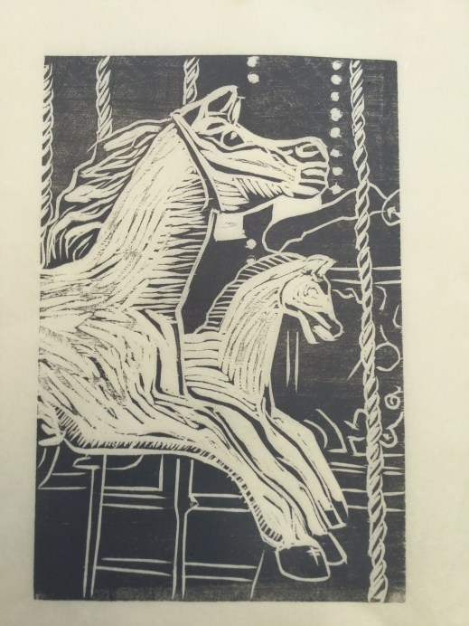 Carousel horse, 1st print on Kozo paper in a dark grey ink.