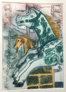 Carousel horse printed with 3 drypoint plates, the green one is a horse-shaped one, and main plate is inked up à la poupées.