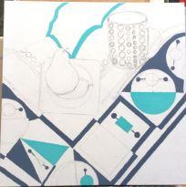 Geometric tablecloth pear mug - 2a