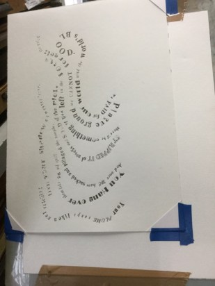 Print of the lettering on plain paper.