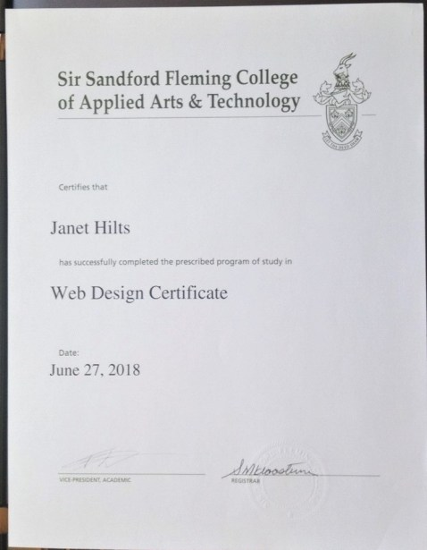 my certificate from Fleming College in web design