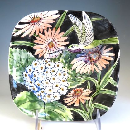 Celebration Pottery Jan Francoeur Nature Series square bowl with hummingbird dark