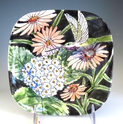Celebration Pottery Jan Francoeur Nature Series square bowl with hummingbird dark