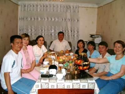 Gulzhahan's birthday party, 2006, with her new samovar on the table.