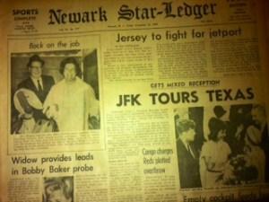 Newark Star Ledger for November 22, 1963