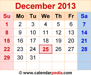 december-2013-calendar