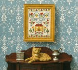 'Home Sweet Home' sampler , stitched on 28 count evenweave, available as a kit from www.janetgranger.co.uk