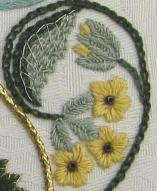 Stumpwork cowslips on the Bride's Bag