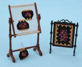 'Berlin woolwork' motifs on doll's house items, available from www.janetgranger.co.uk