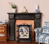 A twelfth scale 'Willow pattern' design on a firescreen, available as a kit from www.janetgranger.co.uk