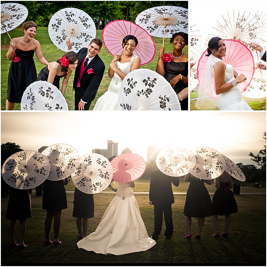 Piedmont Park weddings | bridesmaid parasols