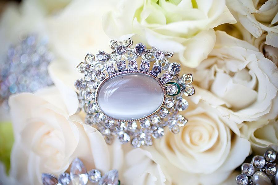 Bridal bouquet crystal detail