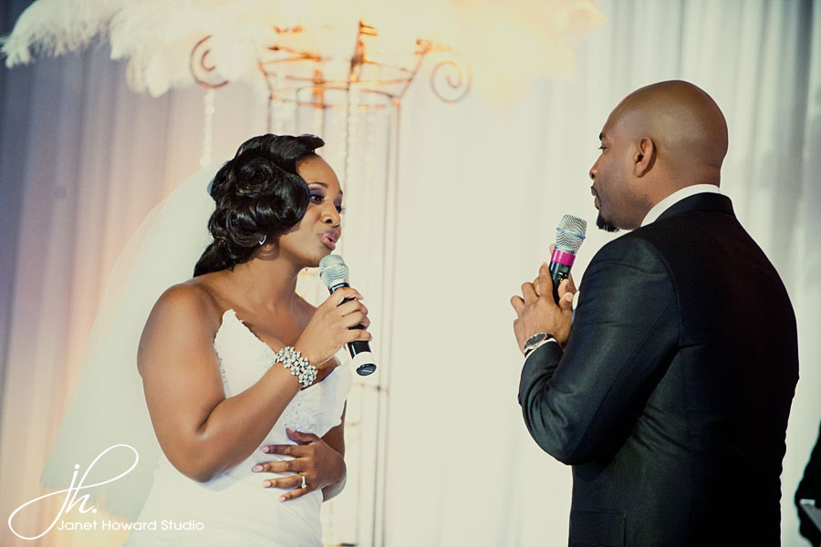 Bride and groom sing to each other