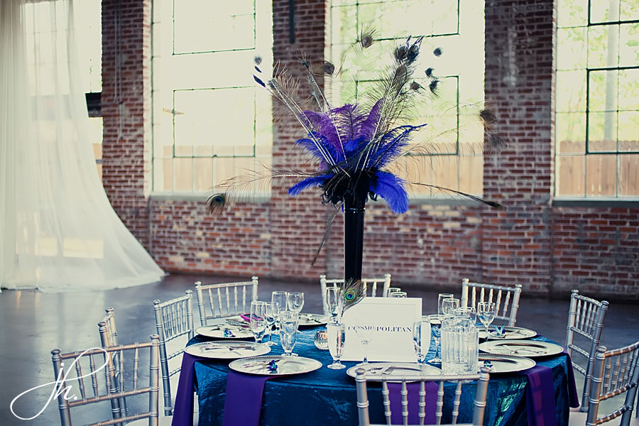 Purple and Blue peacock table at The Foundry at Puritan Mill