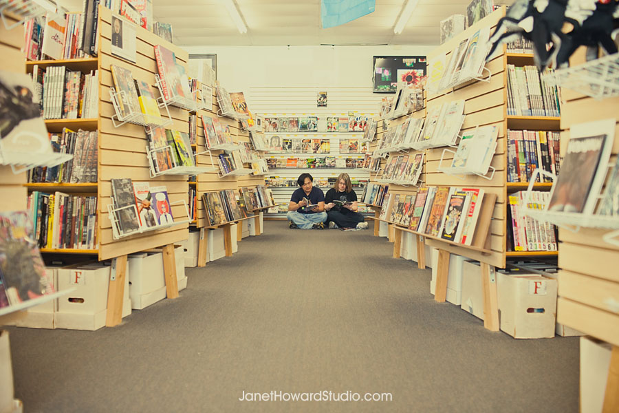 Comic book store engagement session