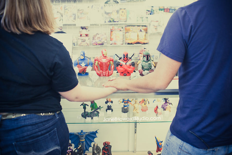 Engagement session and comic store with toys