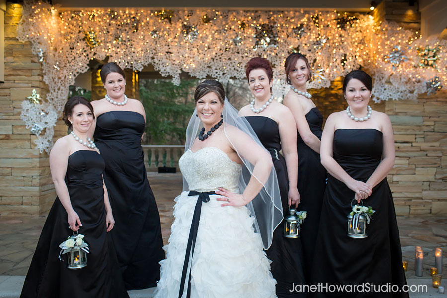 Bridesmaids with lanterns