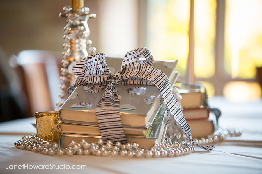 Wrapped book table decor