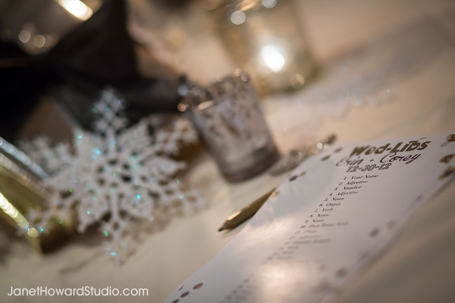 Wedding Mad Libs on tables