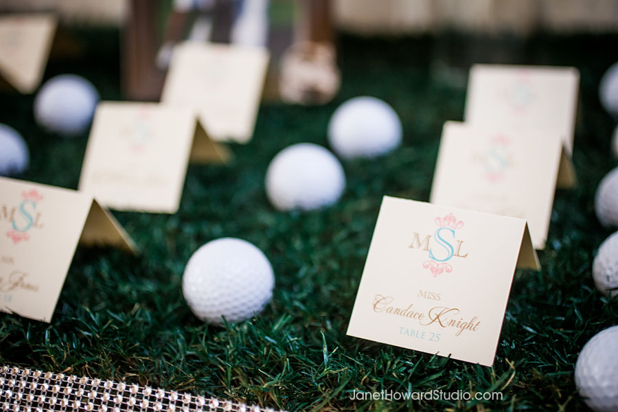 Golf themed escort cards