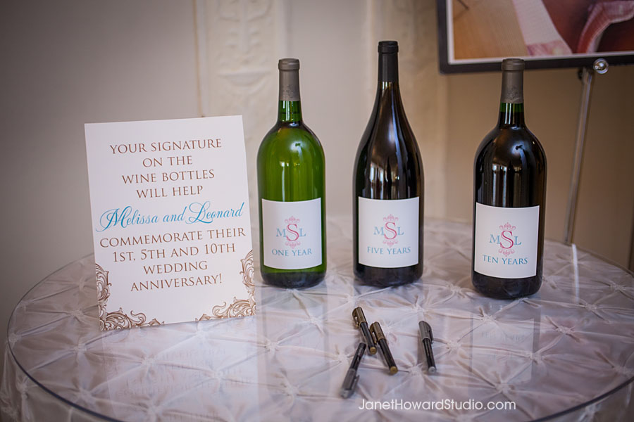 Signed anniversary wine bottles