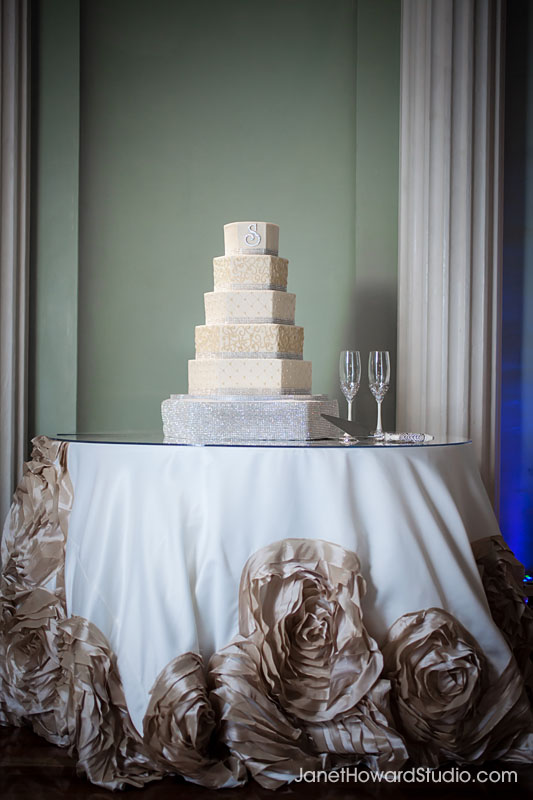 Wedding cake by For Goodness Cakes, with Linen by I Do Linens