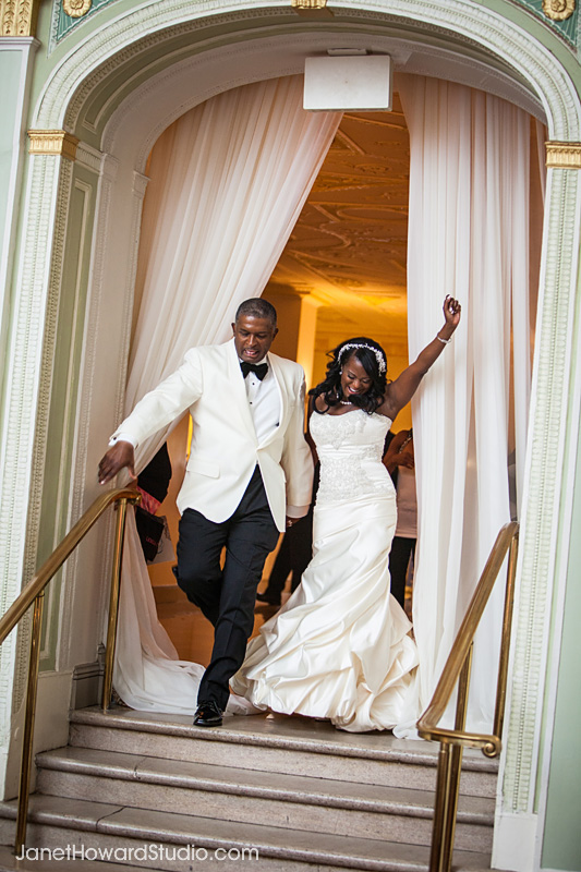 Bride and Groom entrance at Biltmore Ballrooms Atlanta wedding reception