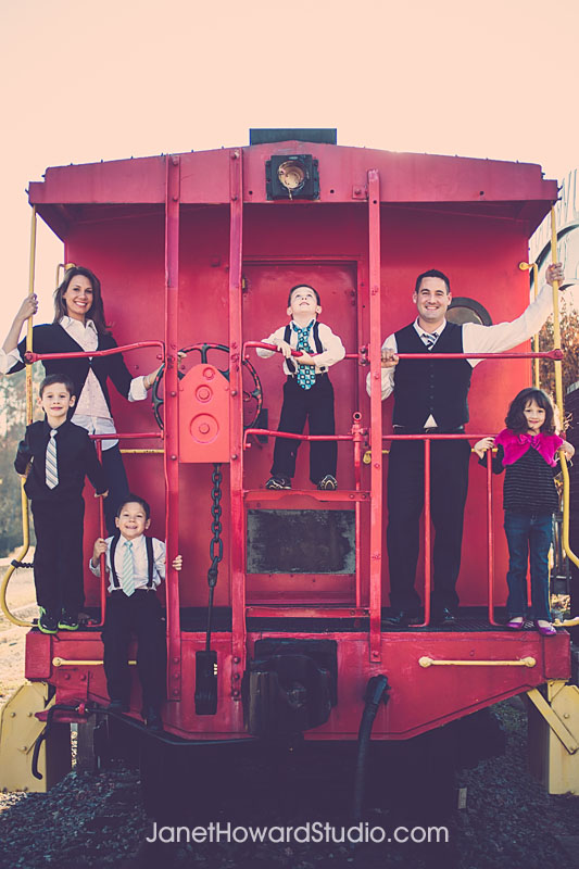 Retro Family Portraits on a Train Suwanee GA
