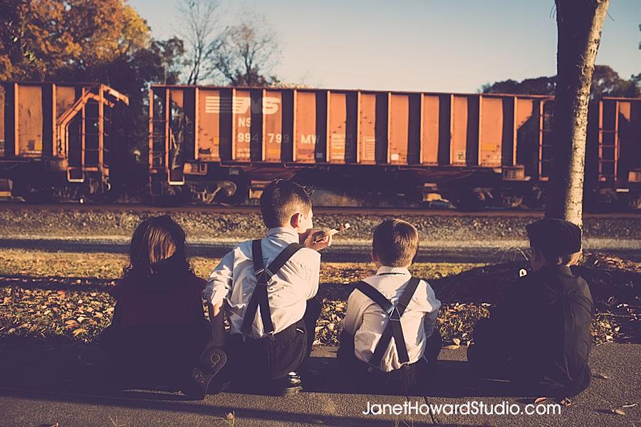 Family Portraits on a Train Suwanee GA