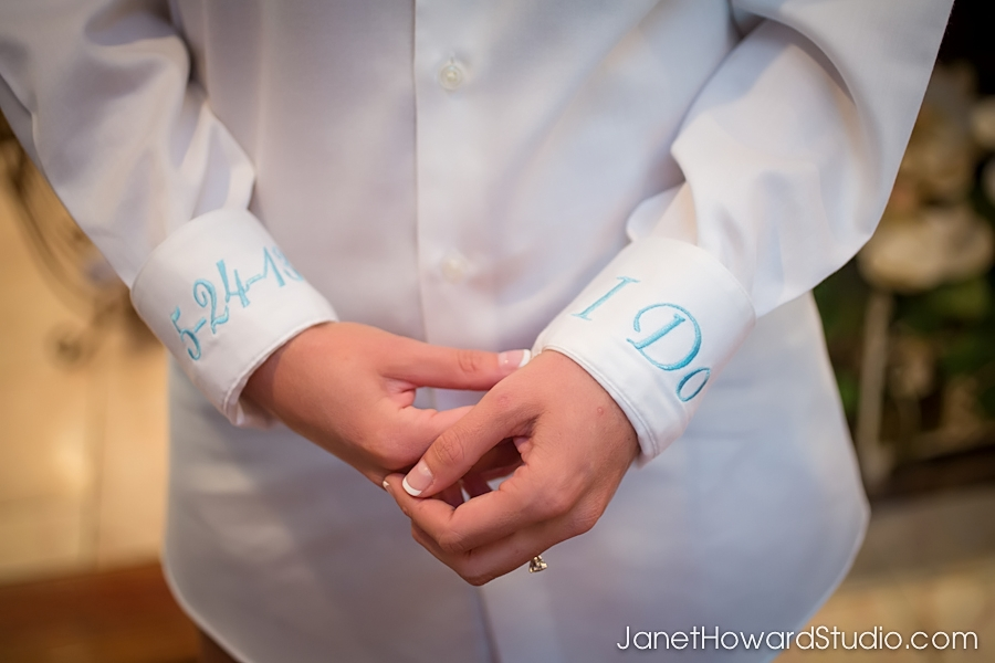 Bride's button down shirt embroidery