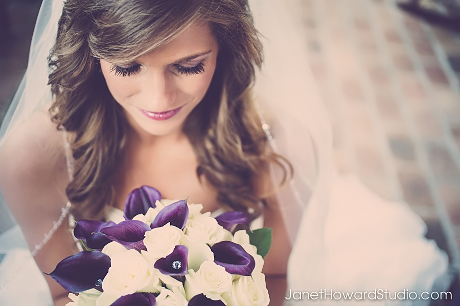 Bride with Purple Lilly Bouquet