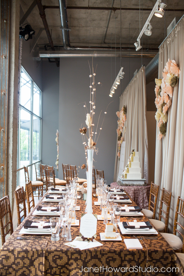 Paper flower backdrops Modern Tablescape