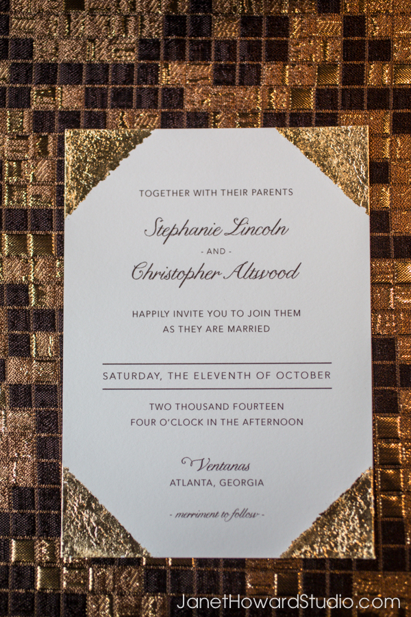 Gold squares linen + gold tipped invitation
